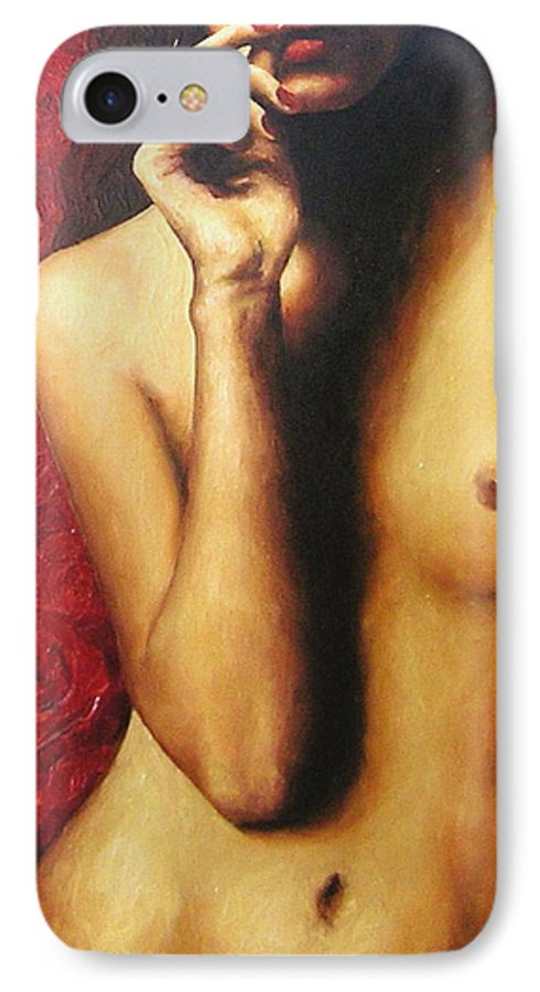 Nude IPhone 7 Case featuring the painting Bed Of Roses 4 by Trisha Lambi