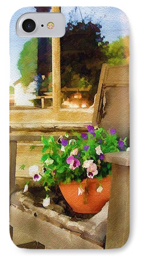 Pansies IPhone 7 Case featuring the photograph Best Seat In The House by Sandy MacGowan