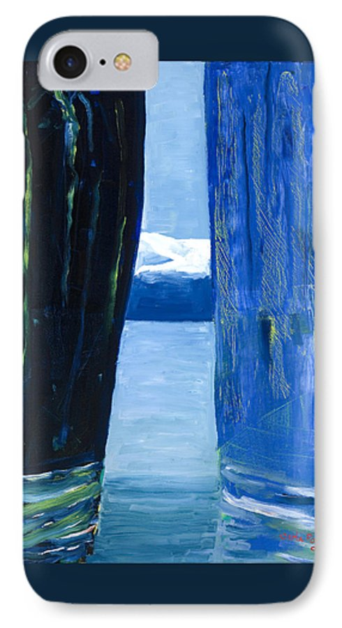 Landscape IPhone 7 Case featuring the painting Between Two Mountains. by Jarle Rosseland