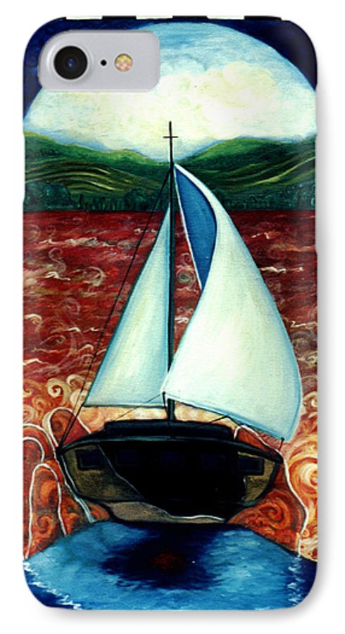 Sailboat IPhone 7 Case featuring the painting Beyond These Shores by Teresa Carter