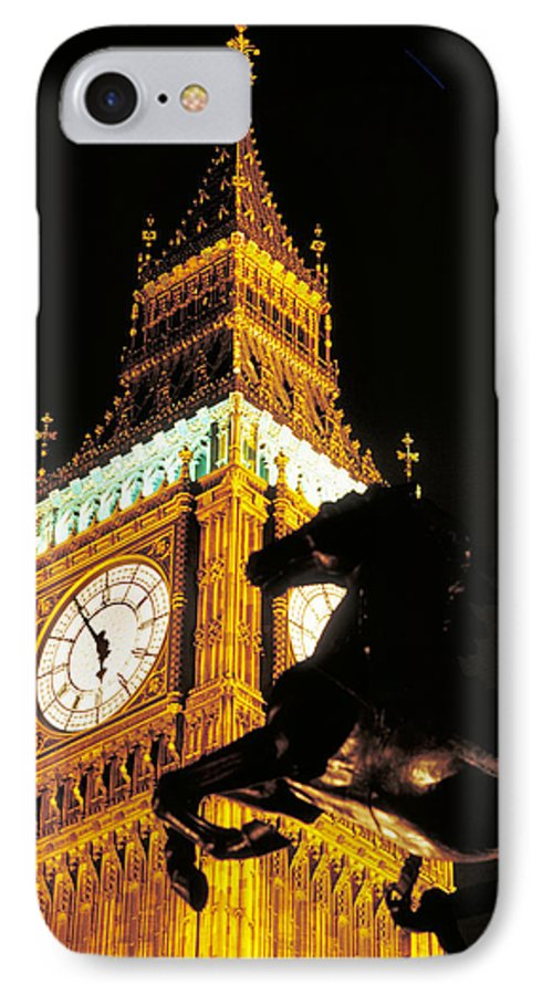 Clock IPhone 7 Case featuring the photograph Big Ben In London by Carl Purcell