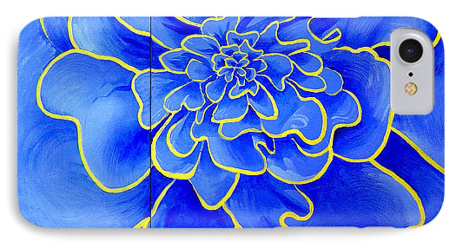 Diptych IPhone 7 Case featuring the painting Big Blue Flower by Geoff Greene