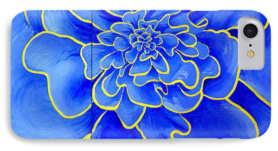 Diptych IPhone Case featuring the painting Big Blue Flower by Geoff Greene
