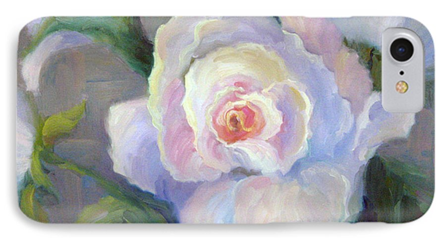 Flower IPhone 7 Case featuring the painting Big Blushing Rose by Bunny Oliver