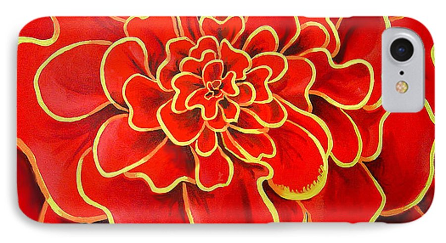 Diptych IPhone Case featuring the painting Big Red Flower by Geoff Greene