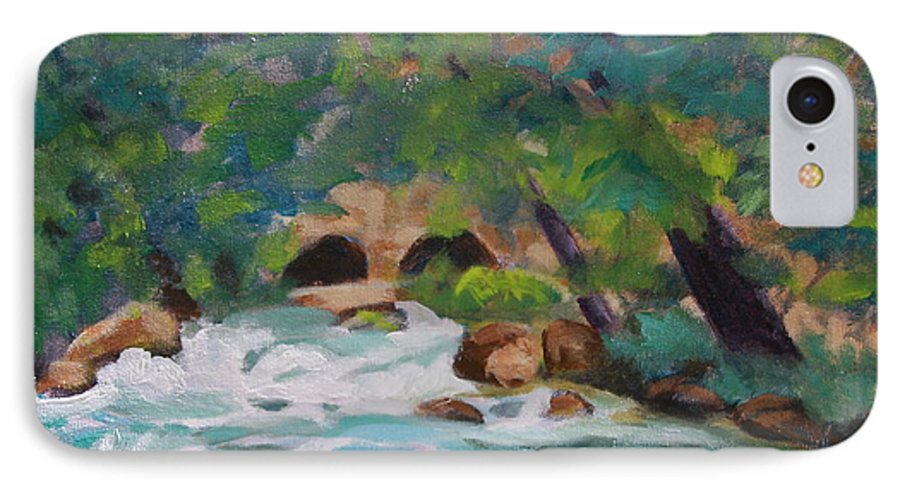 Impressionistic IPhone 7 Case featuring the painting Big Spring On The Current River by Jan Bennicoff