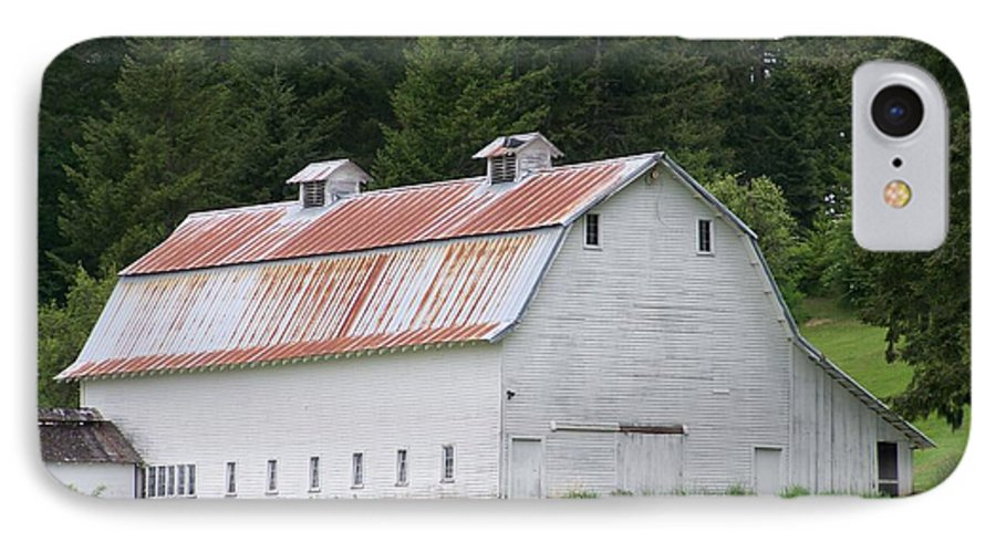 White IPhone 7 Case featuring the photograph Big White Old Barn With Rusty Roof Washington State by Laurie Kidd