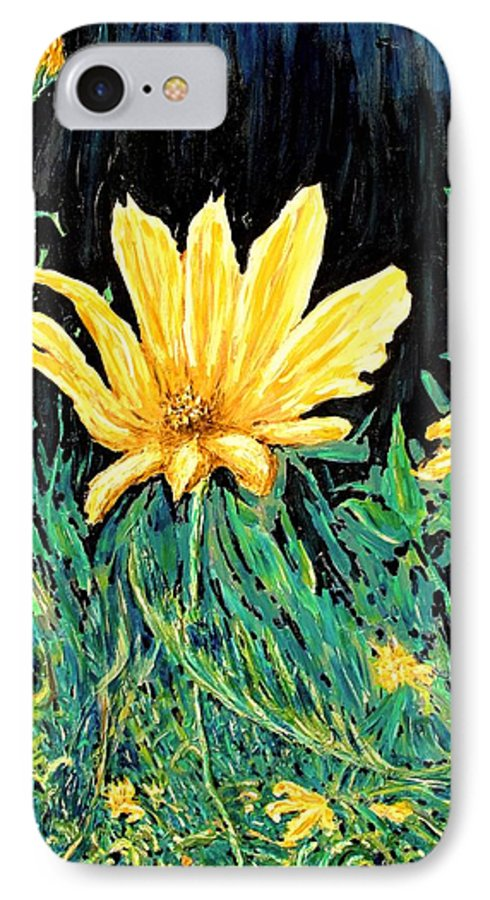 Flower IPhone 7 Case featuring the painting Big Yellow by Ian MacDonald