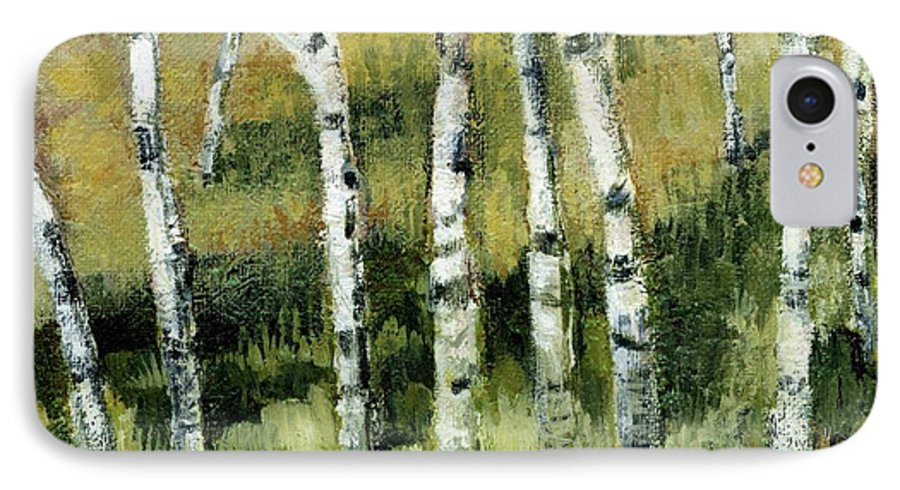 Trees IPhone 7 Case featuring the painting Birches On A Hill by Michelle Calkins