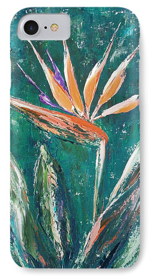 Bird Of Paradise IPhone 7 Case featuring the painting Bird Of Paradise by Gina De Gorna