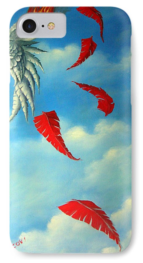 Surreal IPhone 7 Case featuring the painting Bird On Fire by Valerie Vescovi