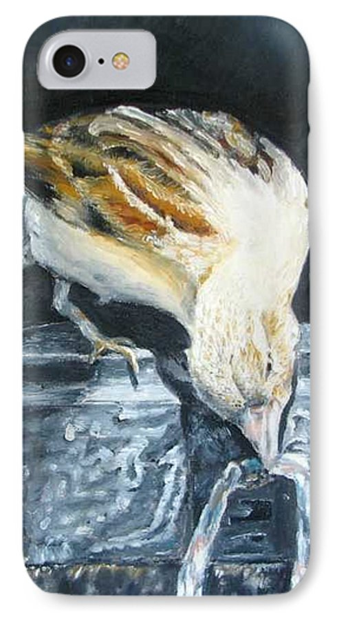 Oil Painting On Canvas IPhone 7 Case featuring the painting Bird Original Oil Painting by Natalja Picugina