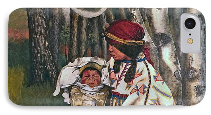 Native American IPhone 7 Case featuring the painting Birth Spirit by Peter Muzyka