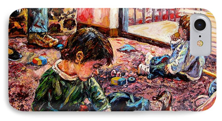 Figure IPhone 7 Case featuring the painting Birthday Party Or A Childs View by Kendall Kessler