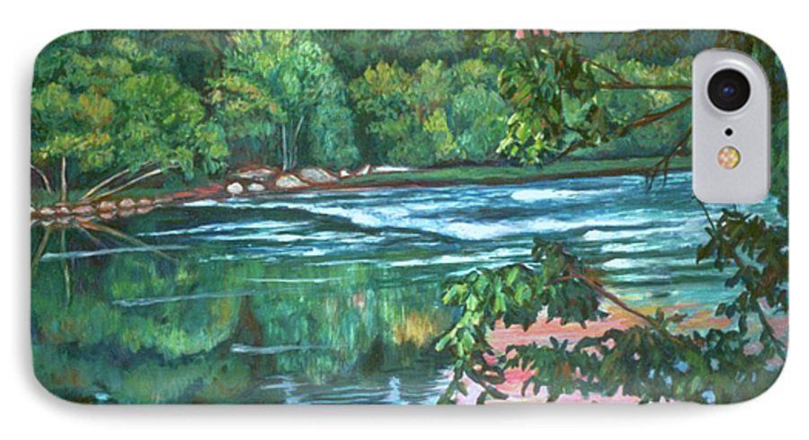 River IPhone 7 Case featuring the painting Bisset Park Rapids by Kendall Kessler