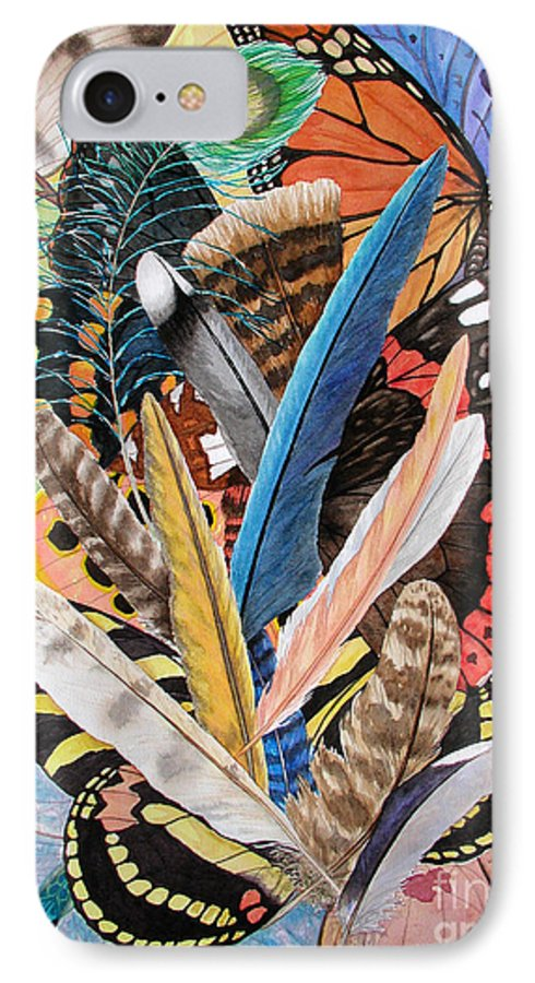 Feathers IPhone 7 Case featuring the painting Bits Of Flight by Lucy Arnold