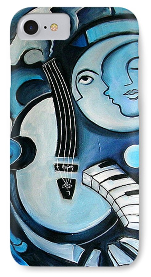Abstract IPhone 7 Case featuring the painting Black And Bleu by Valerie Vescovi
