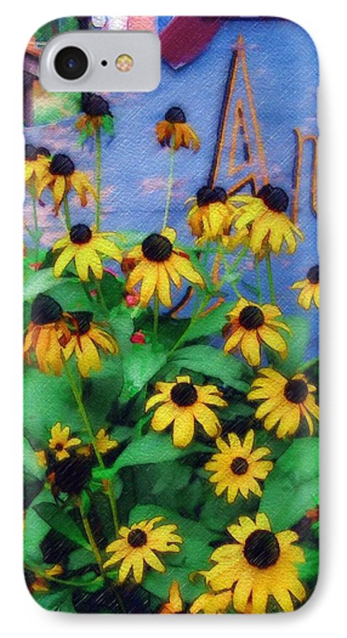 Flowers IPhone 7 Case featuring the photograph Black-eyed Susans At The Bag Factory by Sandy MacGowan