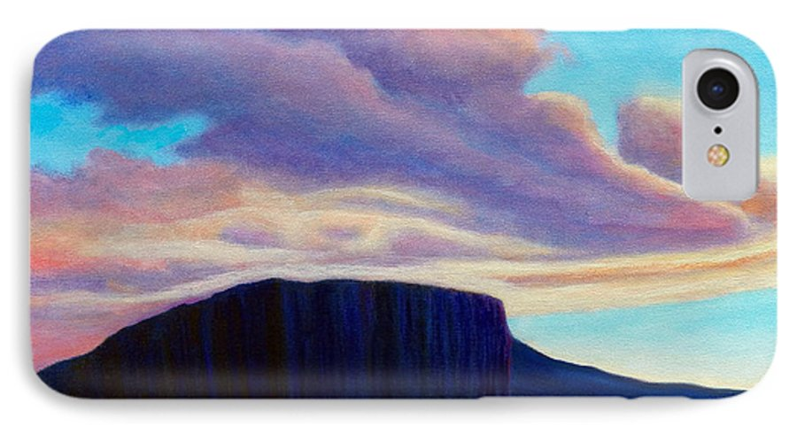 Landscape IPhone 7 Case featuring the painting Black Mesa Sunset by Brian Commerford