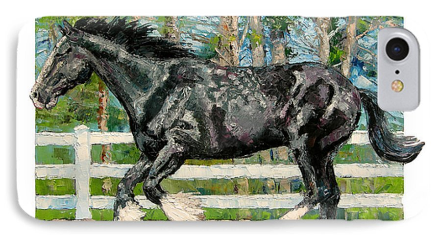 Horse IPhone 7 Case featuring the painting Black Power by John Lautermilch