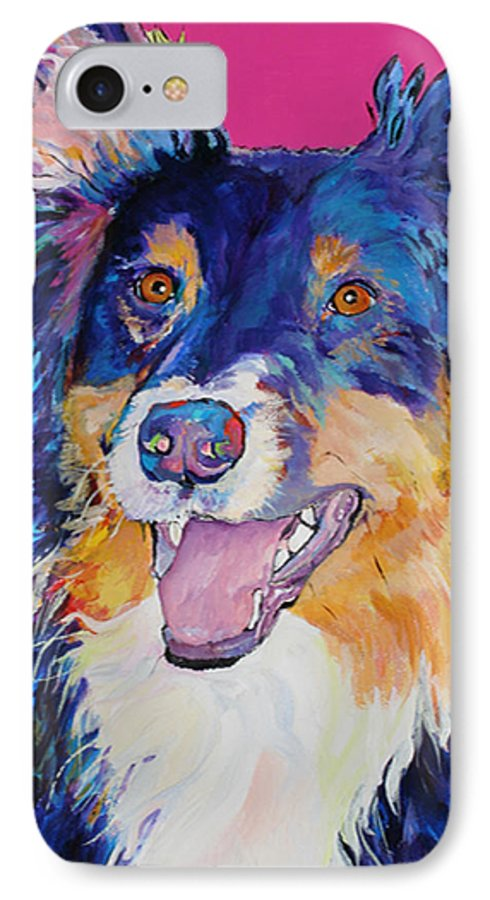 Dog IPhone 7 Case featuring the painting Blackjack by Pat Saunders-White