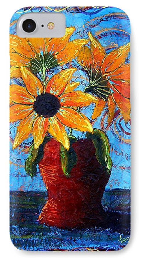 IPhone 7 Case featuring the painting Blazing Sunflowers by Tami Booher