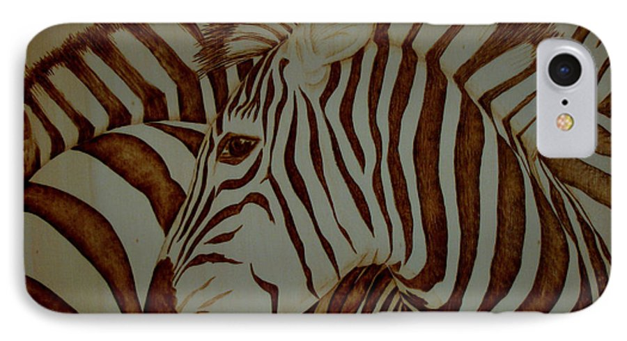 Pyrography; Woodburning; Sepia; Zebra; Stripes; Wild Life; Africa; Horse; Herd; IPhone 7 Case featuring the pyrography Blending In by Jo Schwartz