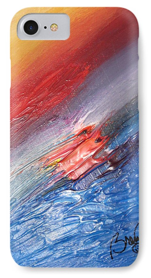 Abstract IPhone 7 Case featuring the painting Bliss - D by Brenda Basham Dothage