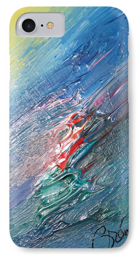 Abstract IPhone 7 Case featuring the painting Bliss - F by Brenda Basham Dothage