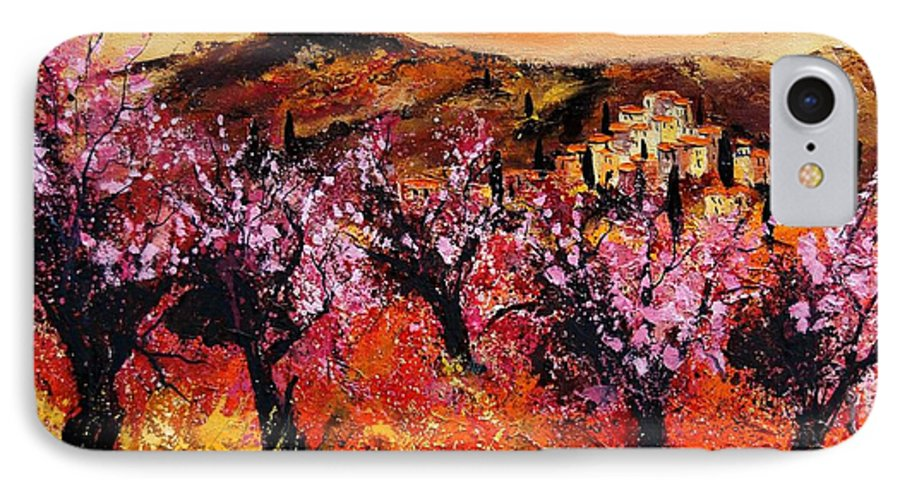 Provence Cherrytree Summer Spring IPhone 7 Case featuring the painting Blooming Cherry Trees by Pol Ledent