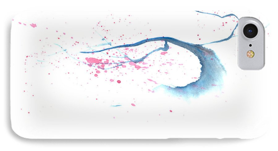 A Flowering Tree Is Blowing In The Wind And Spreading Flower All Over.  This Is A Contemporary Chinese Ink And Color On Rice Paper Painting With Simple Zen Style Brush Strokes.  IPhone 7 Case featuring the painting Blowing In The Wind I by Mui-Joo Wee