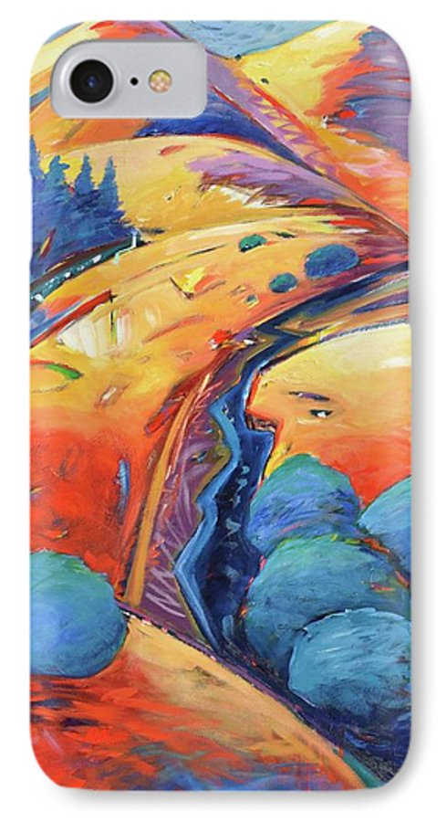 Hills IPhone 7 Case featuring the painting Blue And Gold by Gary Coleman