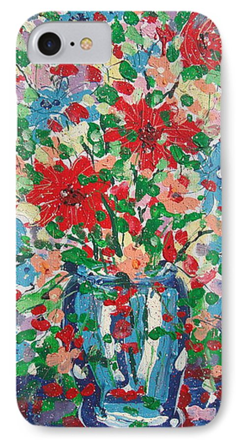 Painting IPhone 7 Case featuring the painting Blue And Red Flowers. by Leonard Holland