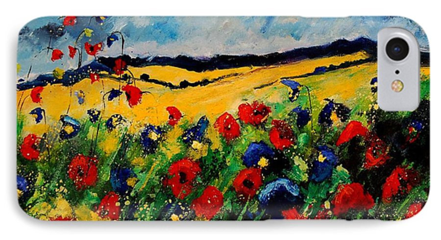 Poppies IPhone 7 Case featuring the painting Blue And Red Poppies 45 by Pol Ledent