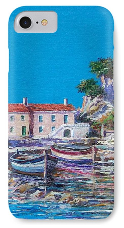 Original Painting IPhone 7 Case featuring the painting Blue Bay by Sinisa Saratlic