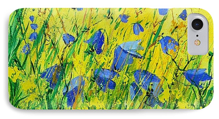 Poppies IPhone 7 Case featuring the painting Blue Bells by Pol Ledent
