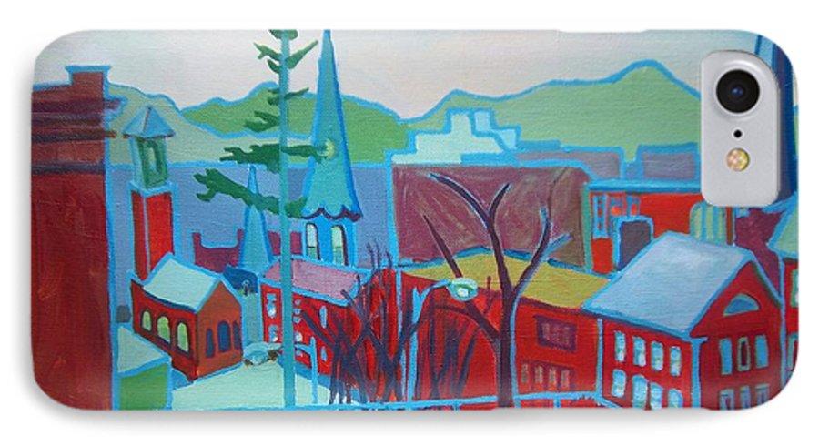 Burlington IPhone 7 Case featuring the painting Blue Burlington by Debra Bretton Robinson