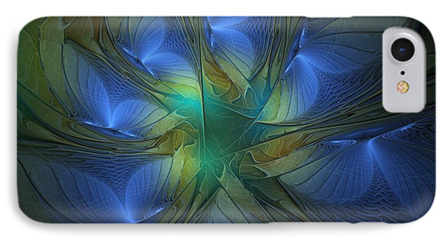 Digital Art IPhone 7 Case featuring the digital art Blue Butterflies by Amanda Moore