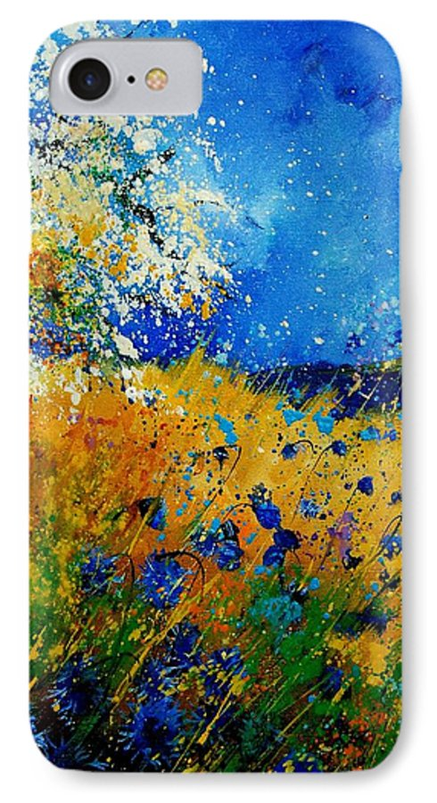 Poppies IPhone 7 Case featuring the painting Blue Cornflowers 450108 by Pol Ledent