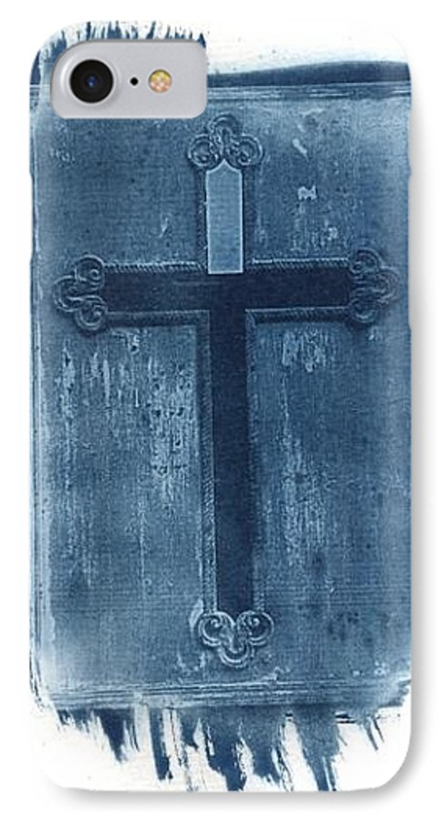 Cyanotype IPhone 7 Case featuring the photograph Blue Cross by Jane Linders