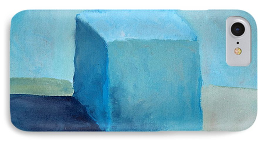 Blue IPhone 7 Case featuring the painting Blue Cube Still Life by Michelle Calkins
