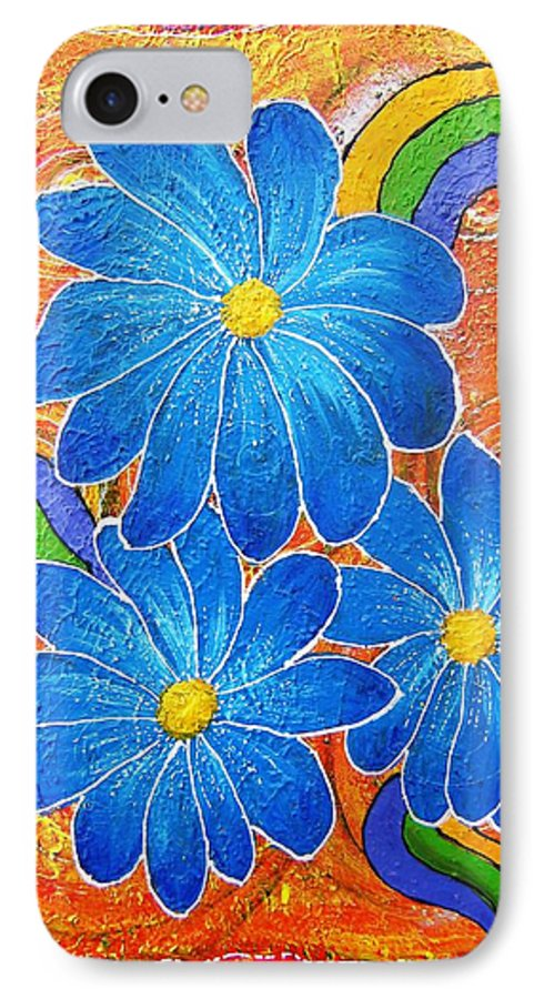 IPhone 7 Case featuring the painting Blue Daisies Gone Wild by Tami Booher