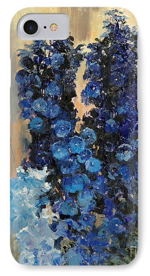 Floral IPhone 7 Case featuring the painting Blue Delphiniums For Nancy by Glenn Secrest