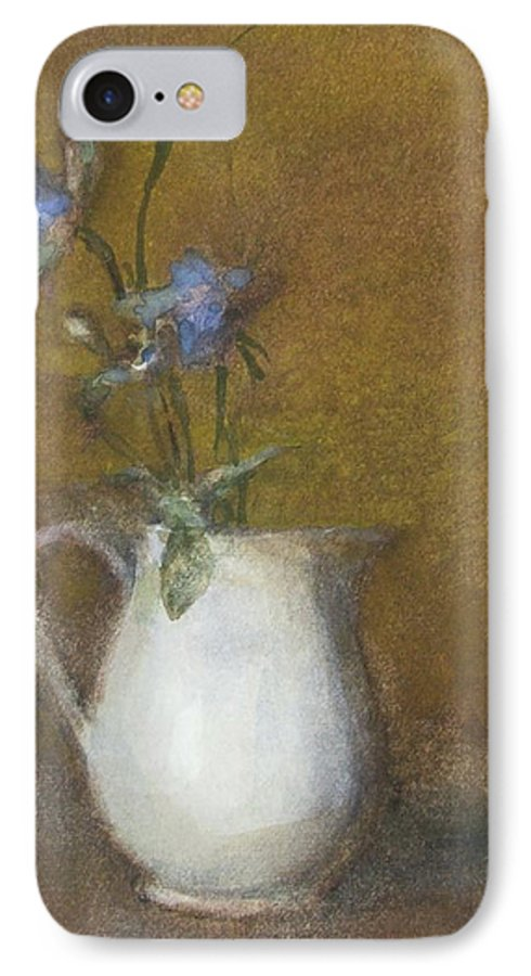 Floral Still Life IPhone 7 Case featuring the painting Blue Flower by Joan DaGradi