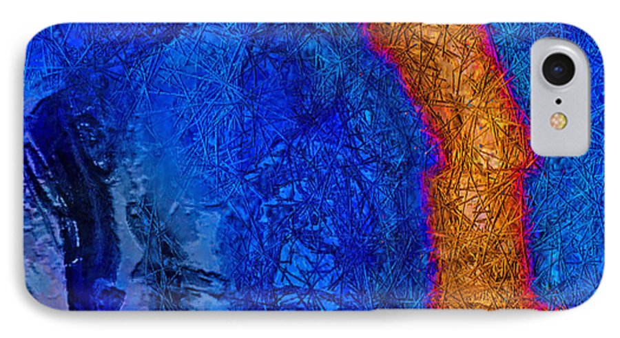 Abstract IPhone 7 Case featuring the painting Blue Force by Dee Flouton