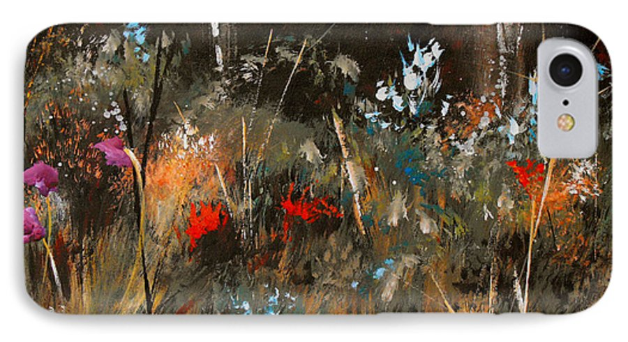 Abstract IPhone 7 Case featuring the painting Blue Grass And Wild Flowers by Ruth Palmer