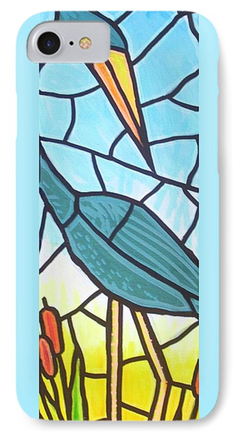 Heron IPhone 7 Case featuring the painting Blue Heron by Jim Harris