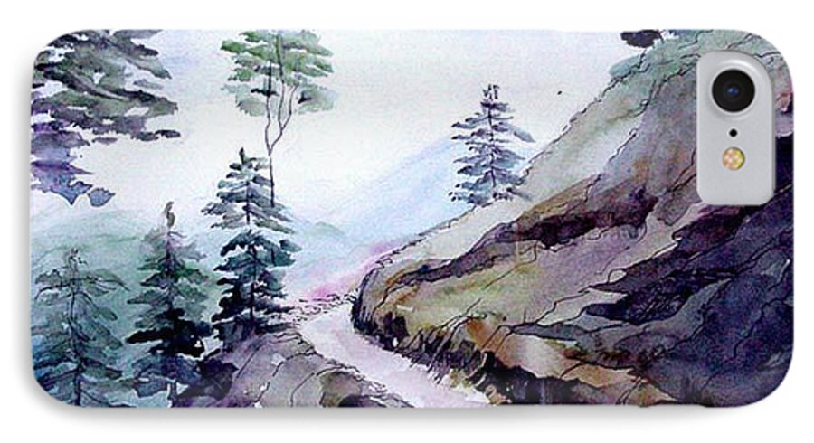 Landscape IPhone 7 Case featuring the painting Blue Hills by Anil Nene