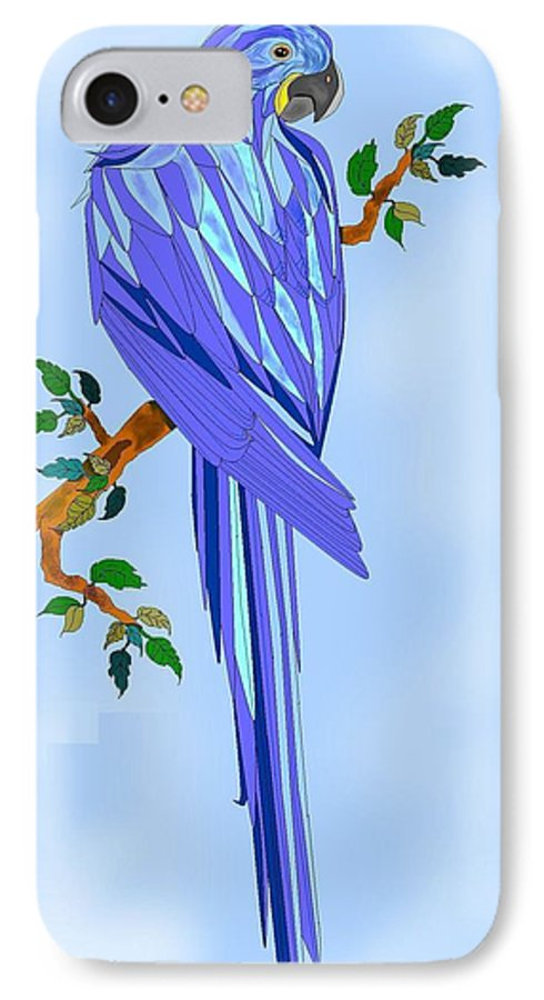 Blue Bird IPhone 7 Case featuring the painting Blue Hyacinth by Anne Norskog