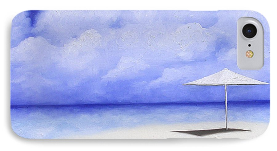 Seascape IPhone 7 Case featuring the painting Blue Isolation by Trisha Lambi